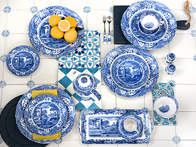 overhead image of Spode Blue italian tableware and Coffee Pot