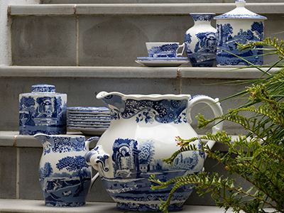 A selection of Spode Blue Italian heritage vases, jugs and tea sets