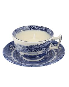 EXCLUSIVE Blue Italian Teacup and Saucer Candle