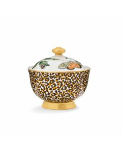 Creatures of Curiosity Leopard Print Sugar Bowl with Lid