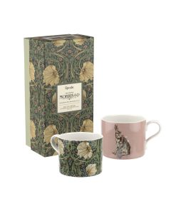 Spode The Original Morris & Co. Pimpernel and Forest Hare Set of 2 Mugs