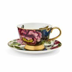 Creatures of Curiosity Dark Floral Coupe Teacup and Saucer