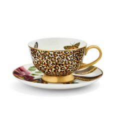 Creatures of Curiosity Leopard Print Coupe Teacup and Saucer