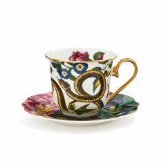 Creatures of Curiosity Dark Floral Teacup and Saucer