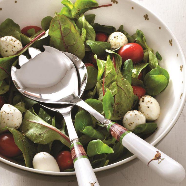 Spode Blue Italian Salad Servers Boxed Pair