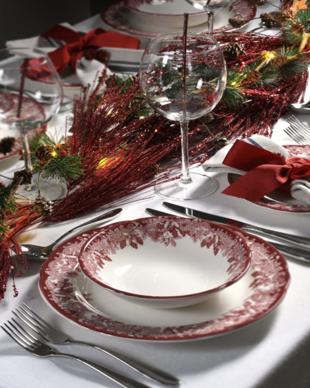 Spode's Winter's Scene Christmas Table Setting