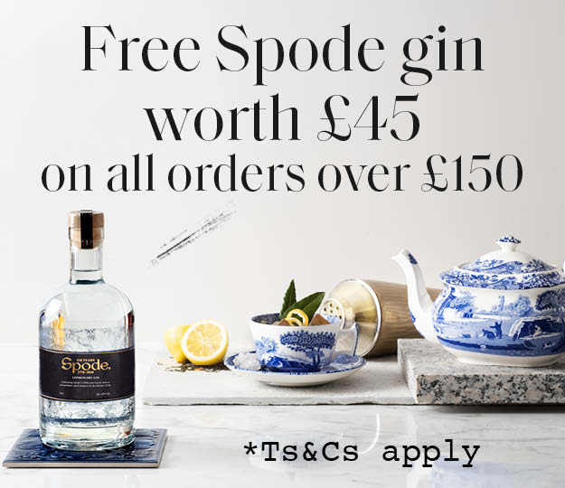 Spode bottle of Gin worth £45 will automatically add to your basket once you spend £150 (before delivery costs).